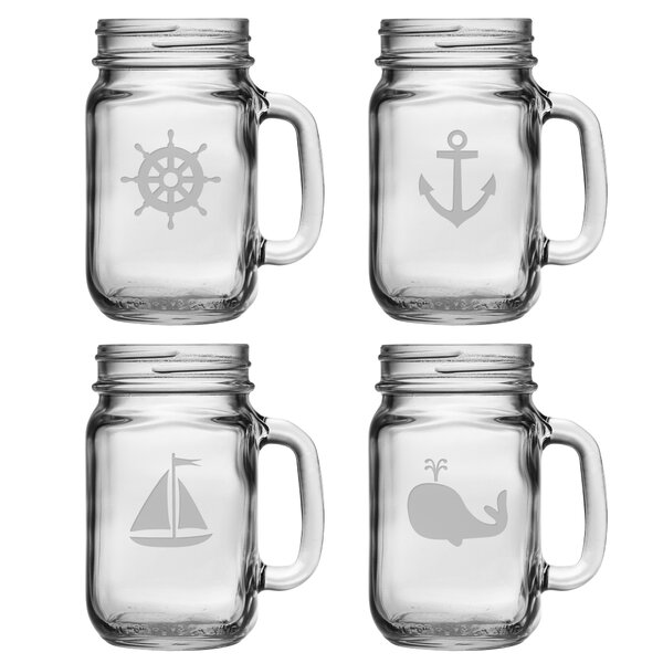 Mansbury 4 Piece Icons Drinking 16 OZ. Mason Jar Set by Beachcrest Home