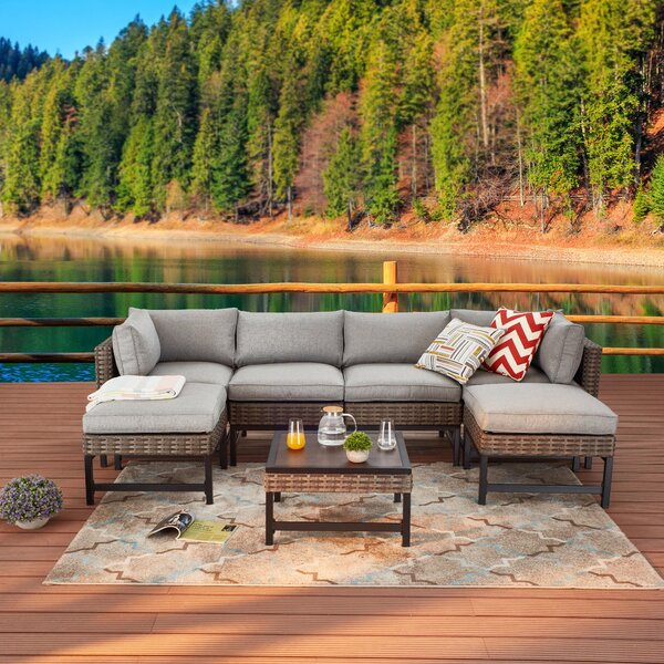 7 Piece Rattan Sectional Seating Group with Cushions by Latitude Run Latitude Run