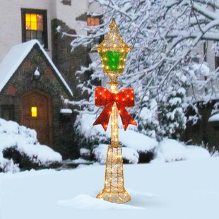 decorative dcor pre lit lamp post christmas decoration - Light Post Christmas Decorations