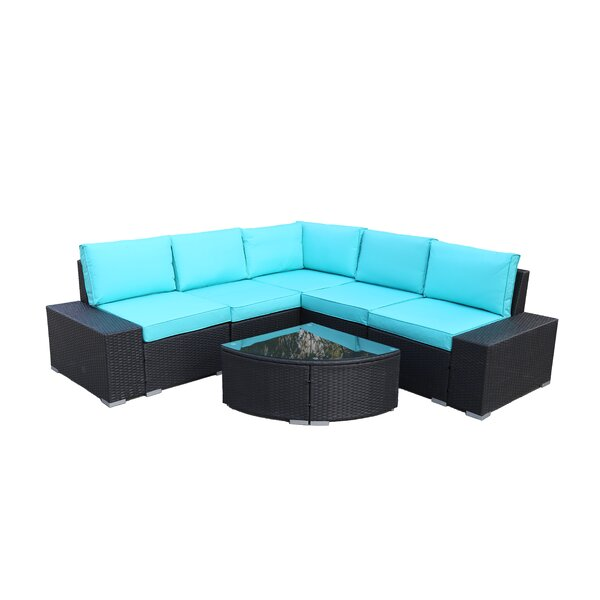 6 Piece Rattan Sectional Seating Group with Cushions by Latitude Run