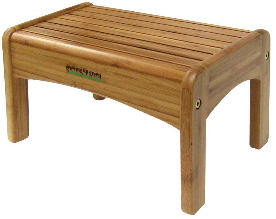 1 Step Bamboo Growing Up Green Step Stool With 200 Lb. Load Capacity
