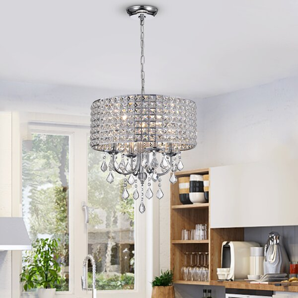 Albano 4-Light Crystal Chandelier by Willa Arlo In