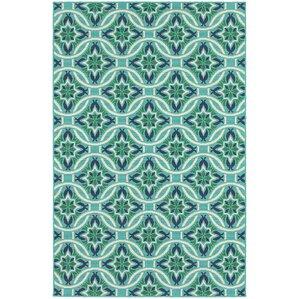Captivating Cortlandt Blue/Green Indoor/Outdoor Area Rug