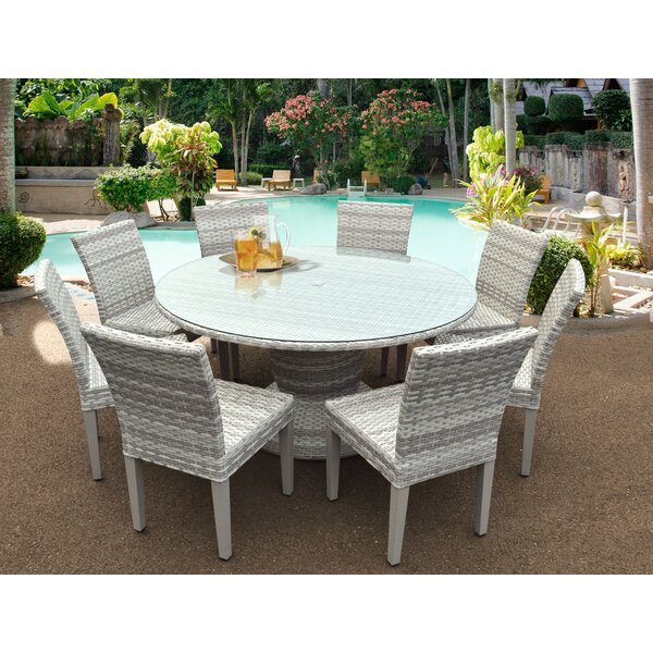 Ansonia 9 Piece Outdoor Dining Set by Rosecliff Heights