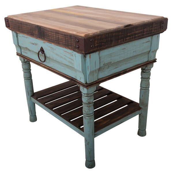 Brunton Kitchen Island with Butcher Block Top by August Grove