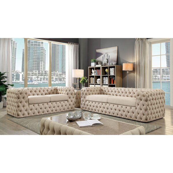 Strickland Contemporary Button Tufted Chesterfield Configurable Living Room Set by Everly Quinn