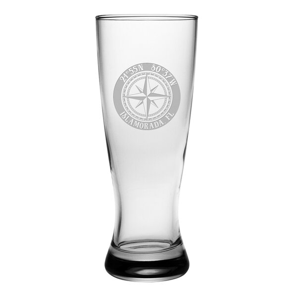 Galvez Compass Rose Grand Pilsner 20 oz. Glass Pint Glass (Set of 4) by Longshore Tides