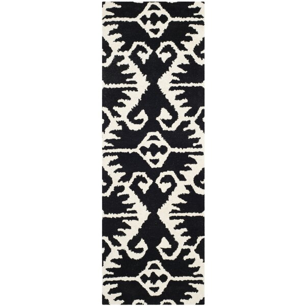 Kouerga Black & Ivory Area Rug by Bungalow Rose