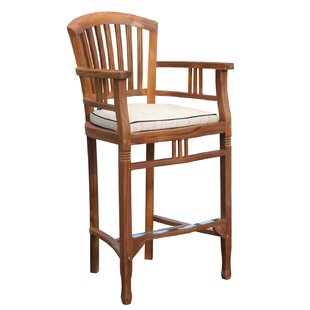 Orleans 29 Teak Patio Bar Stool with Cushion By Darby Home Co