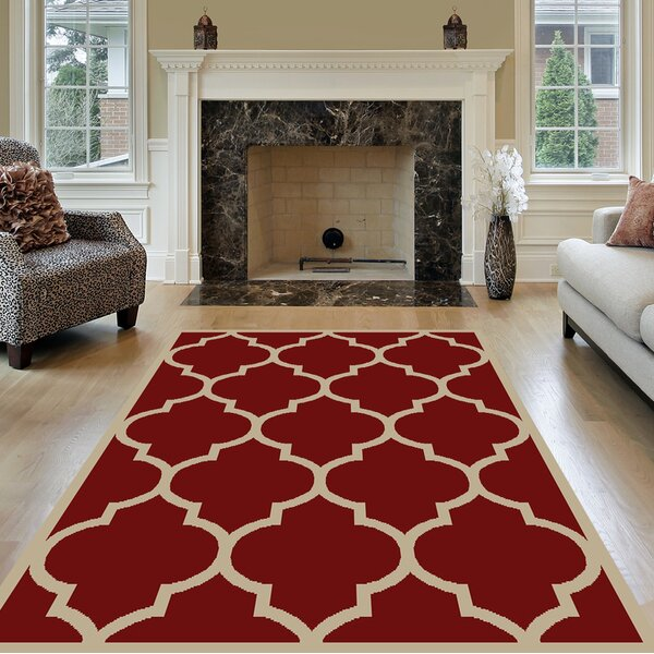 Kinner Moroccan Trellis Red Area Rug by Charlton Home