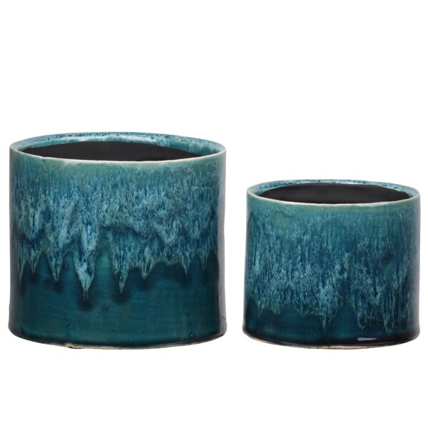 Evelynn Round 2 Piece Ceramic Pot Planter Set by Bungalow Rose