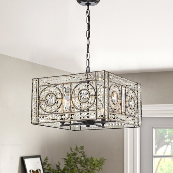 Seddon 4 - Light Lantern Rectangle LED Chandelier by House of Hampton House of Hampton