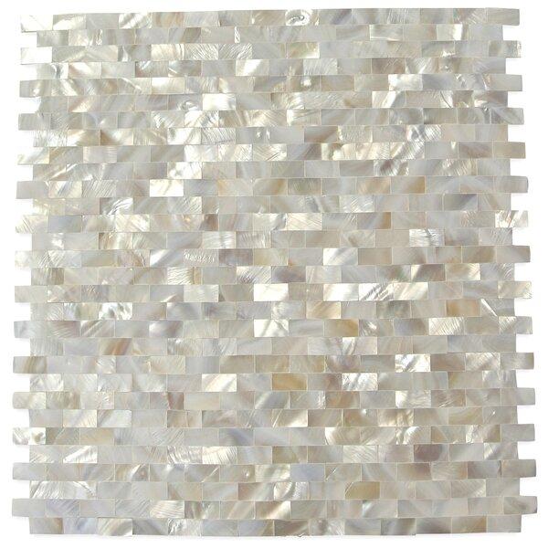 Lokahi .79 x .39 Glass  Pearl Shell Mosaic Tile in White by Splashback Tile