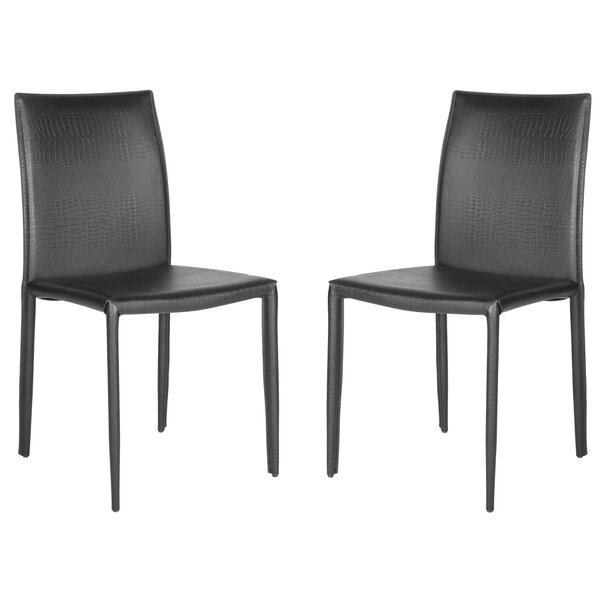 Karna Genuine Leather Upholstered Dining Chair (Set of 2) by Mercury Row