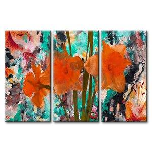 'Painted Petals XXII' 3 Piece Painting Print on Wrapped Canvas Set by Ready2hangart