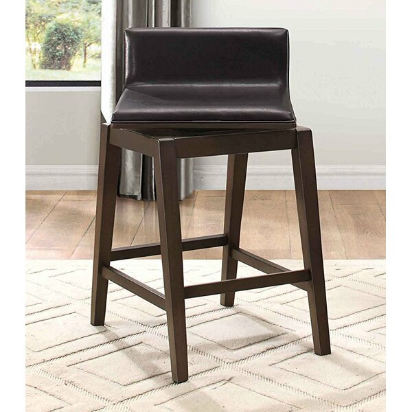Lola Wood/Leather Swivel Bar Stool (Set of 2) by Foundry Select