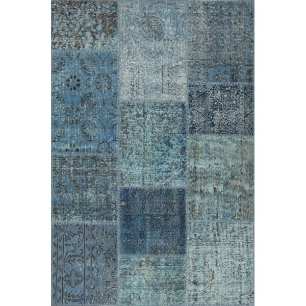Gerri Antique Patchwork Hand-Knotted Blue Area Rug by Bloomsbury Market