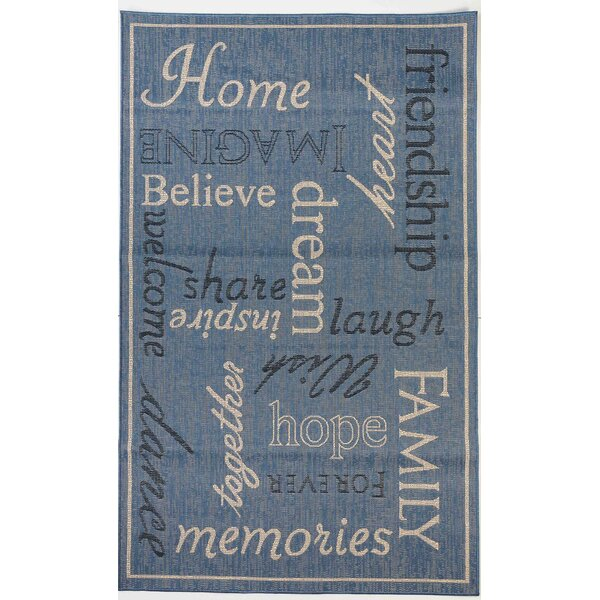 Sparkman Home Family Indoor/Outdoor Blue Rug