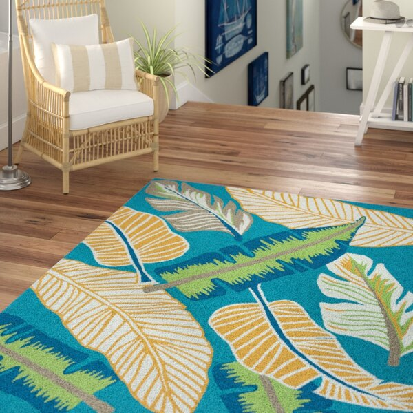 Mako Hand-Tufted Teal Indoor/Outdoor Area Rug by Beachcrest Home