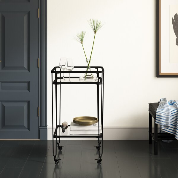 Labbe Metal And Glass Bar Cart By Mercury Row Sale