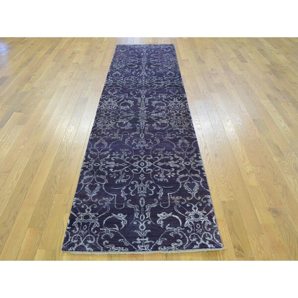 One-of-a-Kind Bean Damask Handwoven Purple Wool/Silk Area Rug by Isabelline