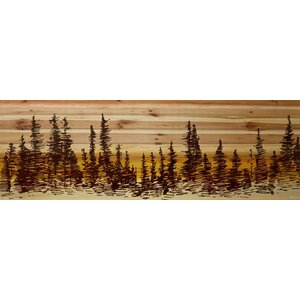 'Pine Tree Sunset' Graphic Print on Natural Pine Wood by Parvez Taj
