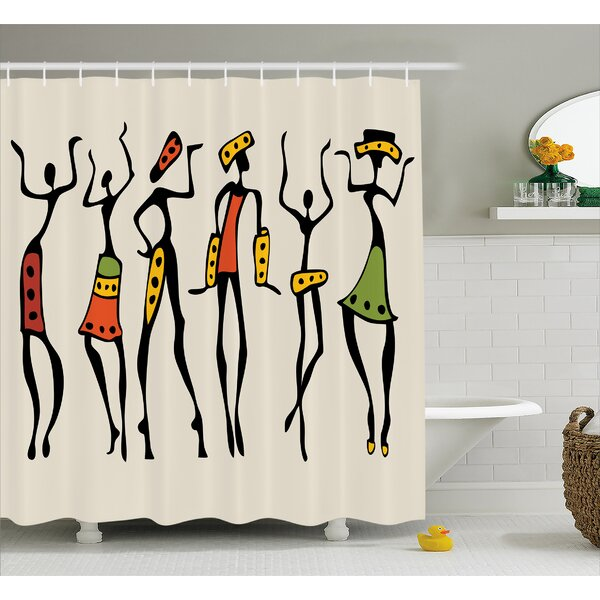 Haderslev African Group Clan Dancers Ethnic Characters Shower Curtain by World Menagerie