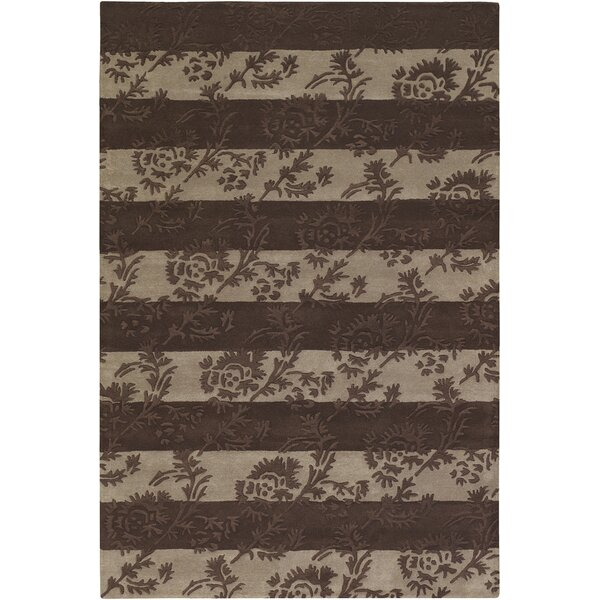 Boise Chocolate/Beige Floral Stripe Area Rug by Darby Home Co