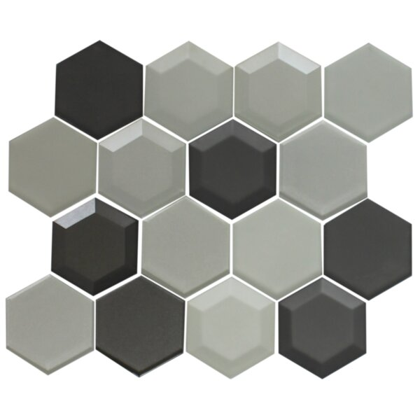 Hexagon Random Sized Glass Mosaic Tile in Silver/Gray