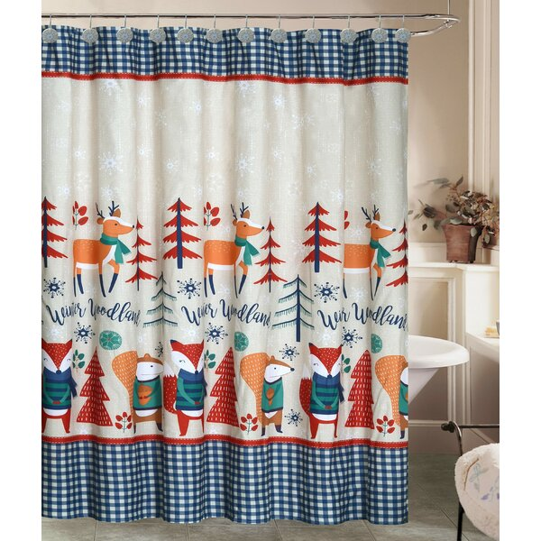 Jolly Holidays Forest Friends Fabric Shower Curtain Set (Set of 13) by The Holiday Aisle