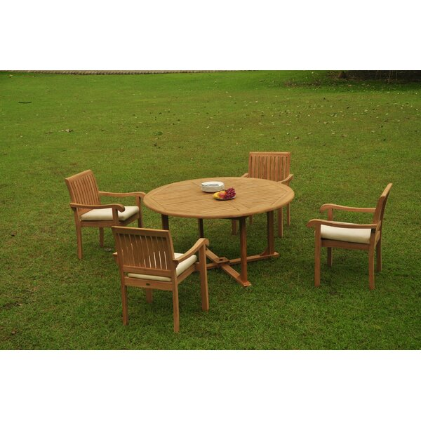Perine Luxurious 5 Piece Teak Dining Set by Rosecliff Heights