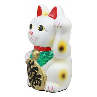 "Japanese Lucky Charm White Beckoning Cat Maneki Neko Money Bank Statue 8.5/""H"