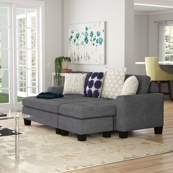 Michaud Reversible Sleeper  Sectional with Ottoman by Ebern Designs