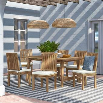 Latitude Run Ianthe Metal And Pvc Coated Polyester 7 Piece Dining Set Wayfair