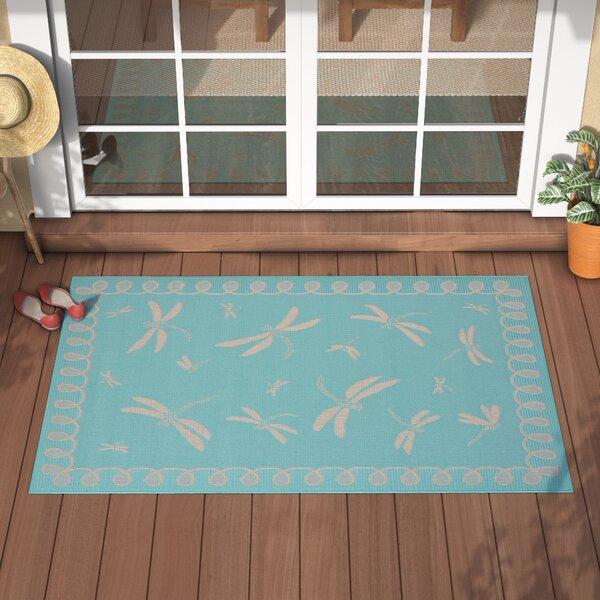 Clatterbuck Dragonfly Blue/Beige Indoor/Outdoor Area Rug by Highland Dunes