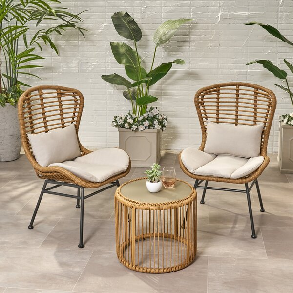 Coffield Outdoor Modern Boho 3 Piece Rattan Seating Group with Cushions by Bungalow Rose