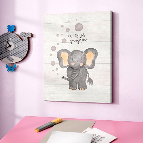 Fells You are My Sunshine Elephant Canvas Art by Harriet Bee