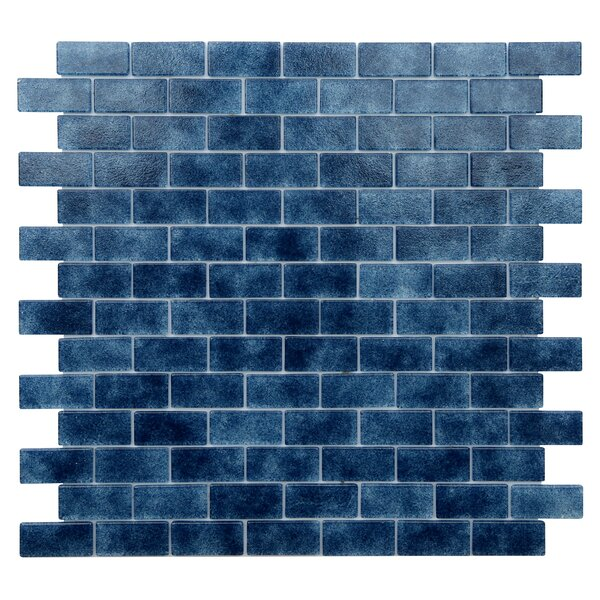 Quartz 0.75 x 1.63 Glass Mosaic Tile in Dark Blue by Kellani