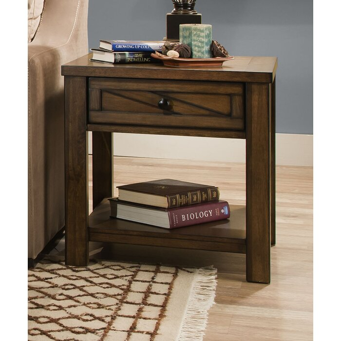 Gracie Oaks Dorcey Rustic End Table With Storage By Simmons