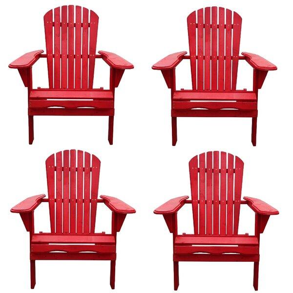 Whetsel Solid Wood Folding  Lightweight Adirondack Chair (Set of 4) by Highland Dunes Highland Dunes