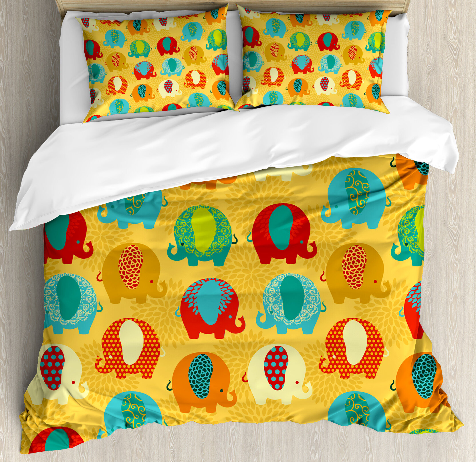 Ambesonne ethnic curvy elephants indian asian style colorful mandala inspired duvet cover set wayfair