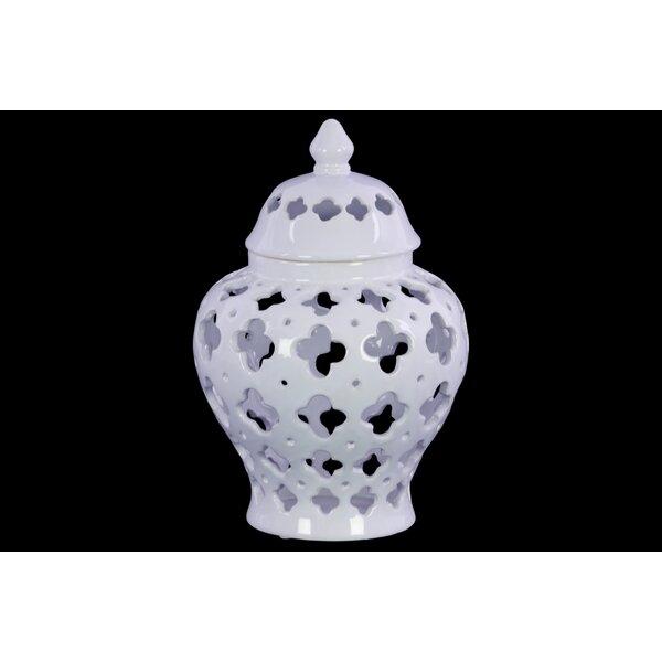 Summersville Cutout Quatrefoil Pattern Ceramic Urn by Bungalow Rose