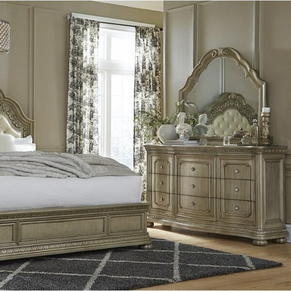 Bordeaux 9 Drawer Double Dresser With Mirror By Astoria Grand by Astoria Grand Today Only Sale