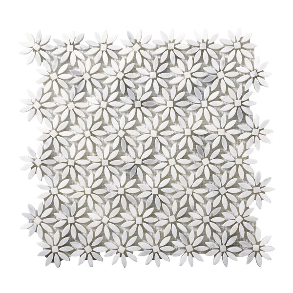 Winter Daisy Marble Mosaic Tile in Frost by Emser Tile