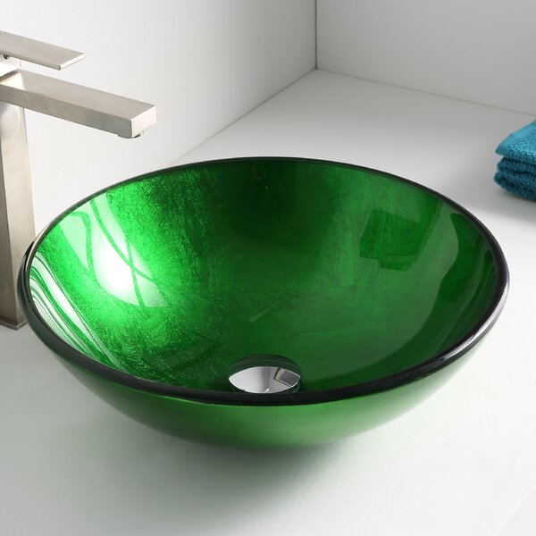Melody Glass Circular Vessel Bathroom Sink by ANZZI