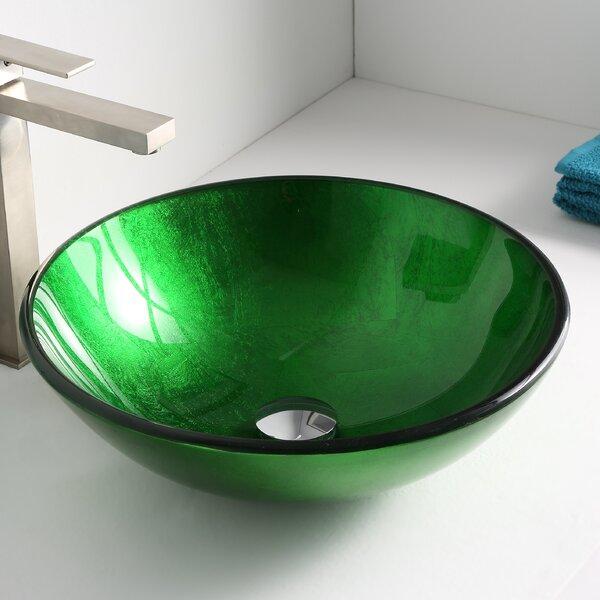 Melody Glass Circular Vessel Bathroom Sink by ANZZ