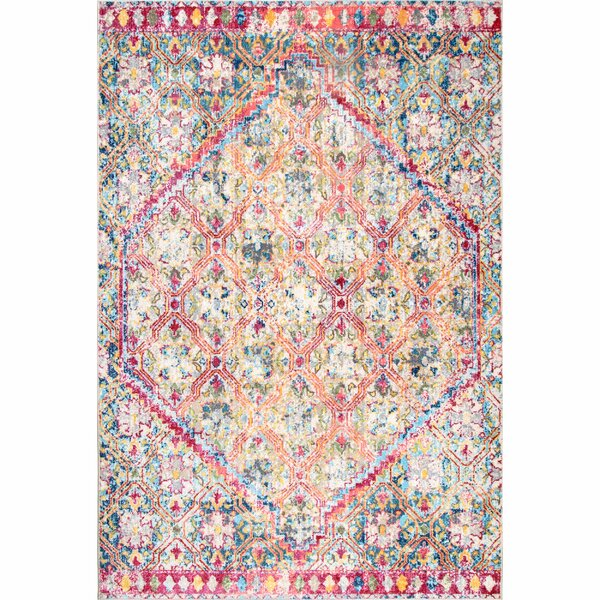 Iola Pink/Blue/Yellow Area Rug by Bungalow Rose