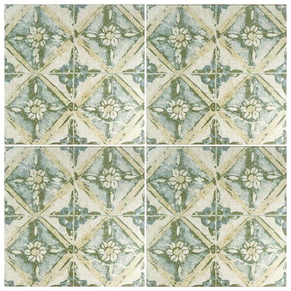 Shale 12.75 x 12.75 Ceramic Field Tile in Teal/Beige by EliteTile