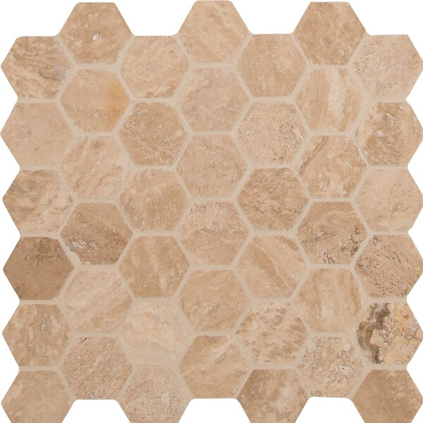 Hexagon Honed and Filled 2 x 2 Travertine Mosaic Tile in Brown by MSI