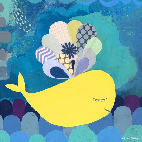 Sweet Yellow Whale Canvas Art by Oopsy Daisy